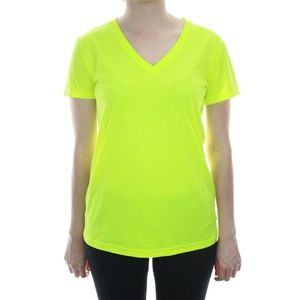 Nike Dri-Fit V-Neck Neon Yellow Short Sleeve Tee